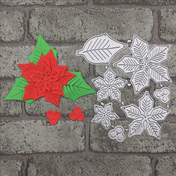 Poinsettia Flowers Wedding Metal Cutting Dies Stencil for DIY Scrapbooking album Decorative Embossing Craft Cut Paper Cards Tool
