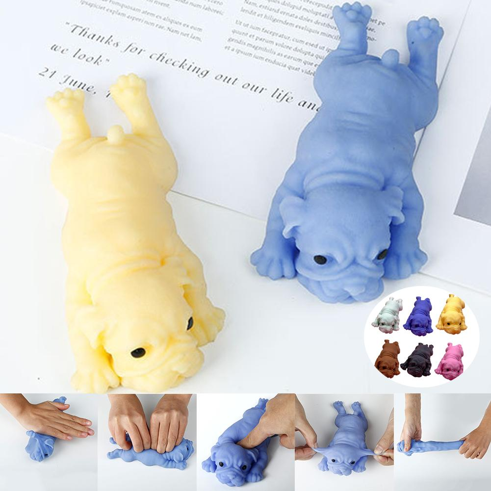 Soft Cute Realistic Silicone Bulldog Soft Animal Stress Relieve Squeezing Kids Adult Toy Kawaii  Animal Dog Toy