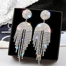 FYUAN pendientes de gota de cristal con borla larga para mujer, bisutería geométrica, pendientes llenos de diamantes de imitación, regalos de joyería Declaración