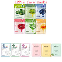 12Pcs Mixed plant cucumber honey aloe milk snail Face Mask Moisturizing Whitening Shrink Pores Oil-control Facial Mask Skin Care images skin care aloe fruit facial mask moisturizing oil control whitening shrink pores nourish honey face mask beauty face care