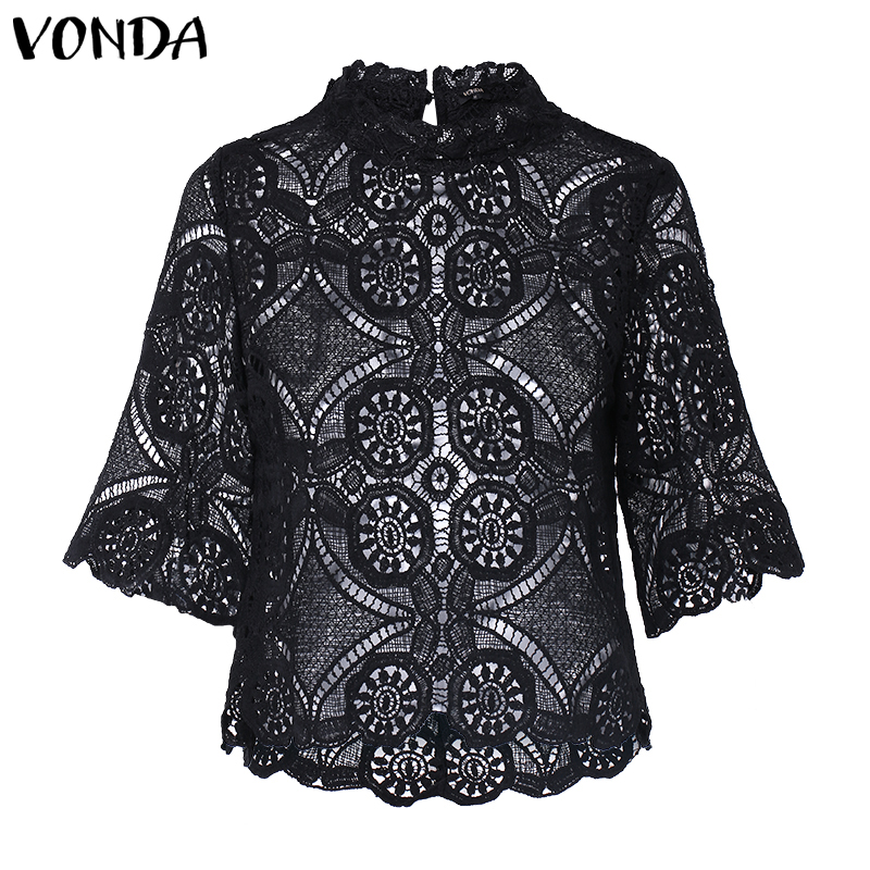 Vintage VONDA 2019 Summer Autumn Sexy Blouse Evening Party Blusas Women 5XL Bohemian Tops Casual Office Ladie Shirts Tunic Plus in Blouses amp Shirts from Women 39 s Clothing