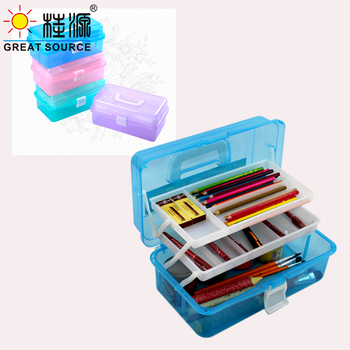 Art Drawing Storage Box Patinting Tool Organizer Container 3  Layers Color Multi-Function PP Box With Handle