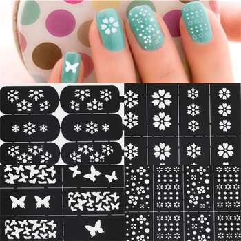 Reusable Flower Stamping Tool DIY Nail Art Hollow Template Stencils Stickers Stamp Stencil Guide DIY Tools image