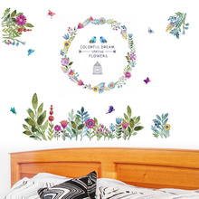 DIY Vinyl Flowers Wall Stickers  Garden Plant Birdcage Posters Window Bonsai Home Decor for Kids Room Art