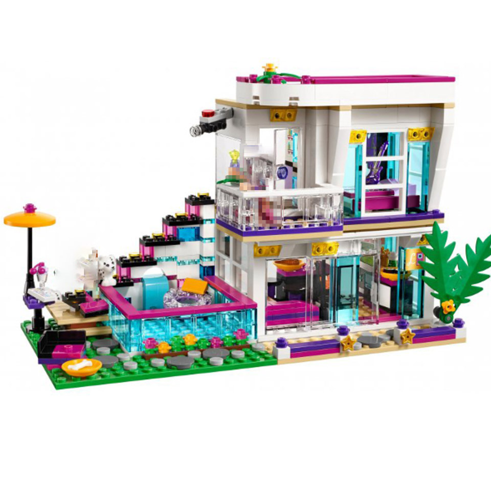 BELA <font><b>10498</b></font> Friends Livi's Pop Star House Emma Building Blocks Sets Brick Compatible 41135 Playmobil Toys For Children image