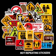 100Pcs Warning Mark Funny Stickers Graffiti Brand Sticker Scrapbooking Case Skateboard Guitar Cool Waterproof Stickers Pegatinas 1000 cool stickers