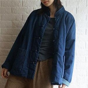 Image 4 - Johnature kış eğlence moda standı yaka plaka toka cepler kalın kot ceket 2020 yeni tüm maç rahat kadın mont