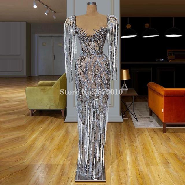 African Luxury Sparkly Long Sleeves Evening Dress Sheath Full Length Bling Sequins Beading Prom Dress Formal Dress 2020 Dubai
