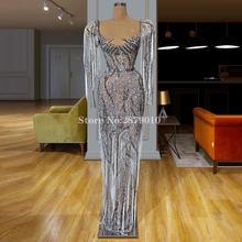 Afrika lüks Sparkly uzun kollu abiye kılıf tam uzunlukta Bling Sequins boncuk balo elbise resmi elbise 2020 Dubai