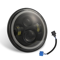 7 Inch 150W Round Led Headlight High Low Beam with Blue Halo Ring Angel Eyes for Je ep Wrangler Jk Tj Lj Cj Car Accessories