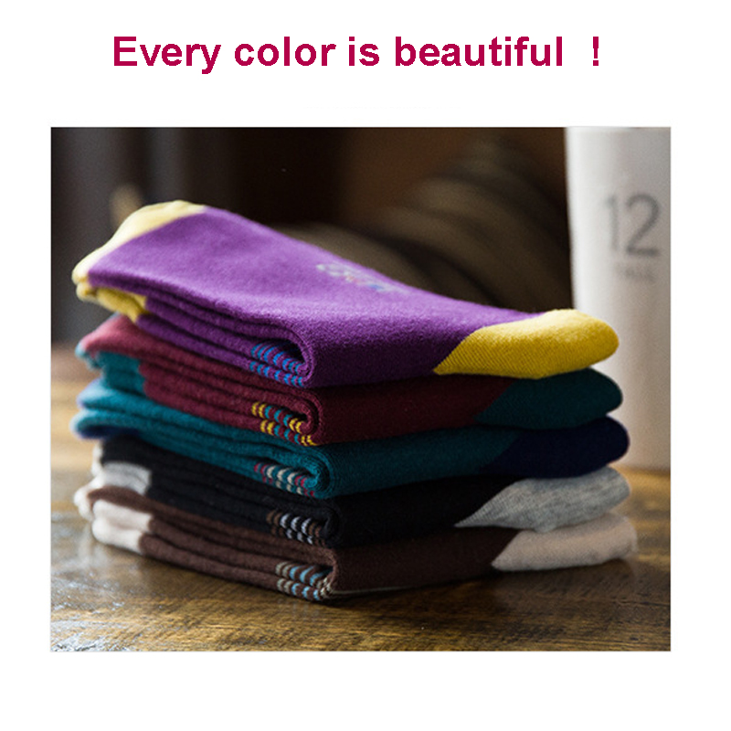 2020 Brand Men's Colorful Socks Compression Combed Cotton Socks Fashion Square Happy Dress Sokken Men 5 Pairs/Lot Size 38-44 Hot