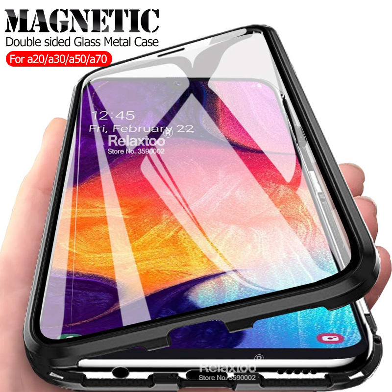 Magnetic case on the For <font><b>samsung</b></font> <font><b>Galaxy</b></font> <font><b>A50</b></font> a70 a30 a20 a 30 50 70 2019 Double sided Glass a305F a205F <font><b>a505F</b></font> a705F Metal coque image