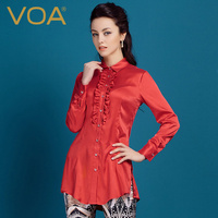 VOA red and blue double color mulberry silk long sleeve collar wood ear trim medium long glossy Top Shirt female B2090