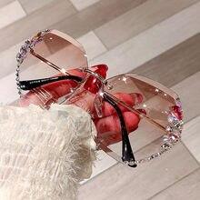 2021 Fashion Brand Design Vintage Rimless Rhinestone Sunglasses Women Men Retro Cutting Lens Gradient Sun Glasses Female UV400