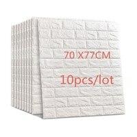 70*77cm 10pcs 3D Brick Wall Stickers DIY Self Adhensive Decor Foam Waterproof Wall Covering Wallpaper Kids Living Room