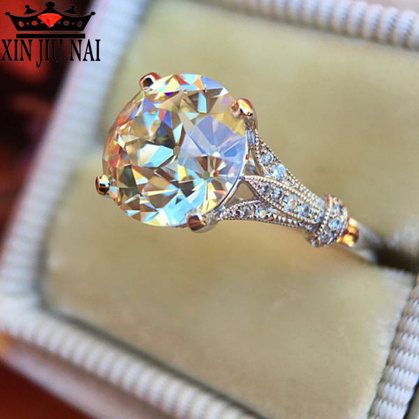 Cute Fashion Big Crystal Zircon Stone Ring Female Girls 925 Silver Wedding Jewelry Promise Engagement Rings For Women