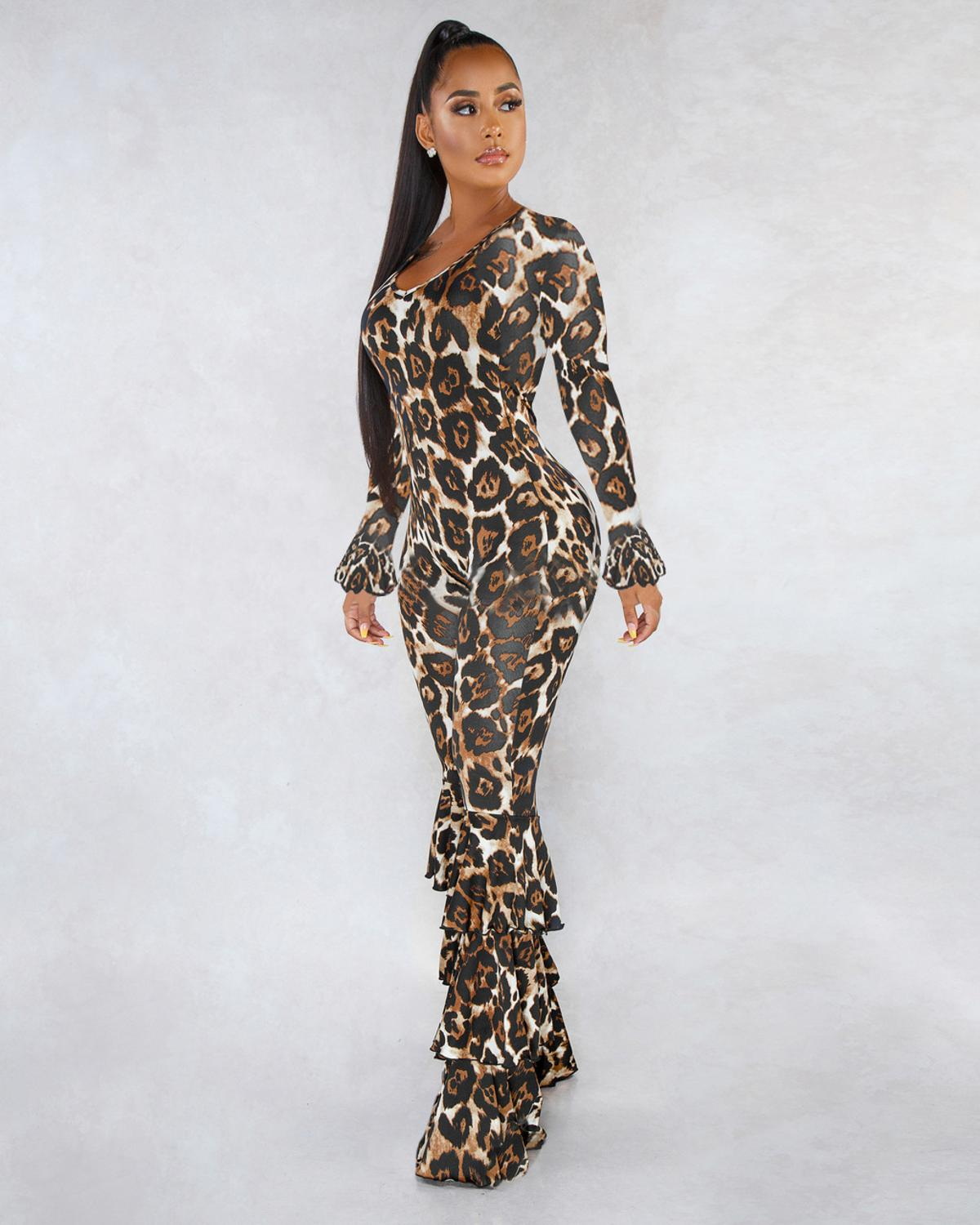 Overalls For Women Elegant Long Pant Sexy Jumpsuits Plus Size Tight Bodycon White Leopard Rompers And Jumpsuit Clothing Ladies