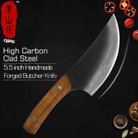 Qing Forgiato Coltello Da Macellaio Alto Tenore di Carbonio In Acciaio Rivestito Cinese Mannaia Cuoco Coltello Da Cucina Fatti A Mano Accessori Tagliere Strumento di Cottura