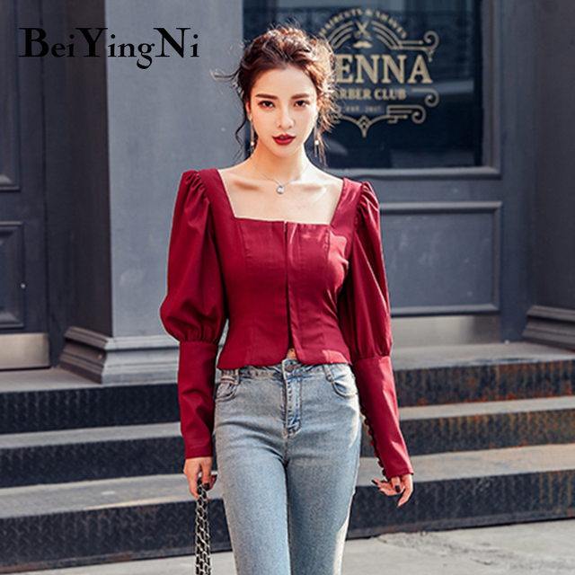 Beiyingni Sexy Blouses Womens Wine Red Black Autumn Long Sleeve 2020 Slim Casual Blusas Female Cropped Top Fashion Korean Shirts 3