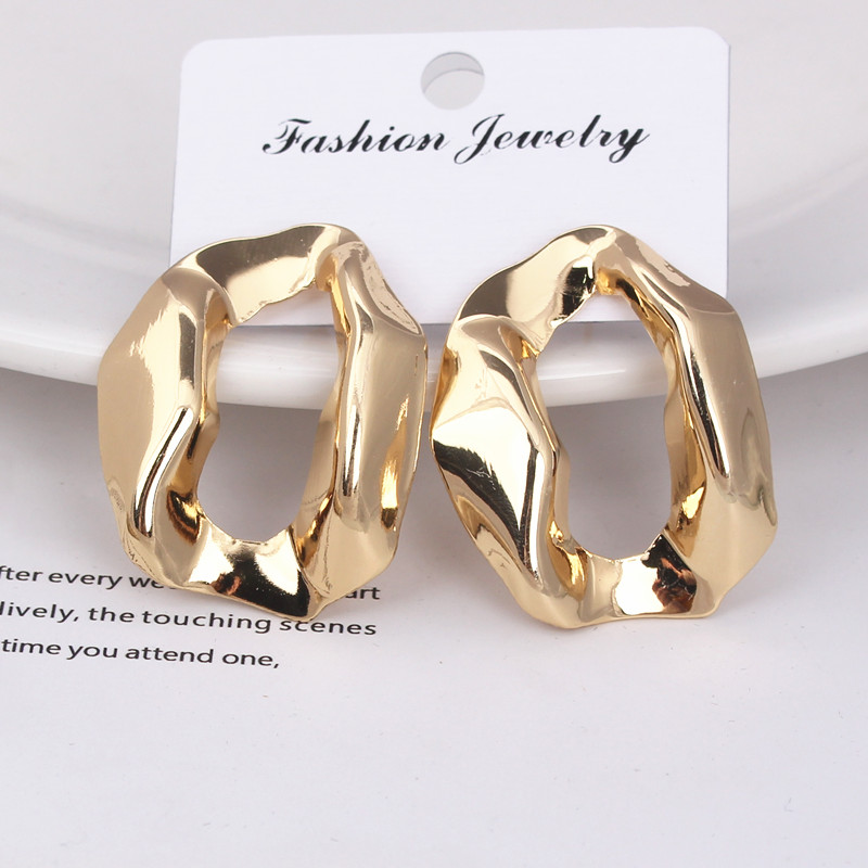 European Brand Square Stud Earrings For Women Exaggerated Hollow Geometric Smooth Big Metal Earrings Hiphop Party Jewelry Gift