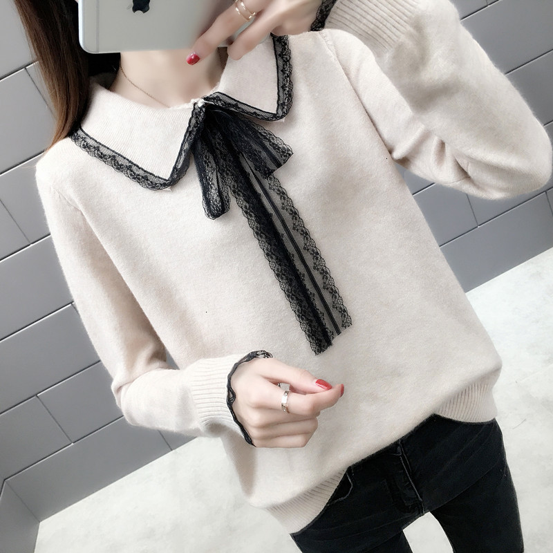 Restore Winter New Long Loose Edge Revers Trui Women Long Mouths Elasticity Used Female Jumper Bow Trui Top LU1057