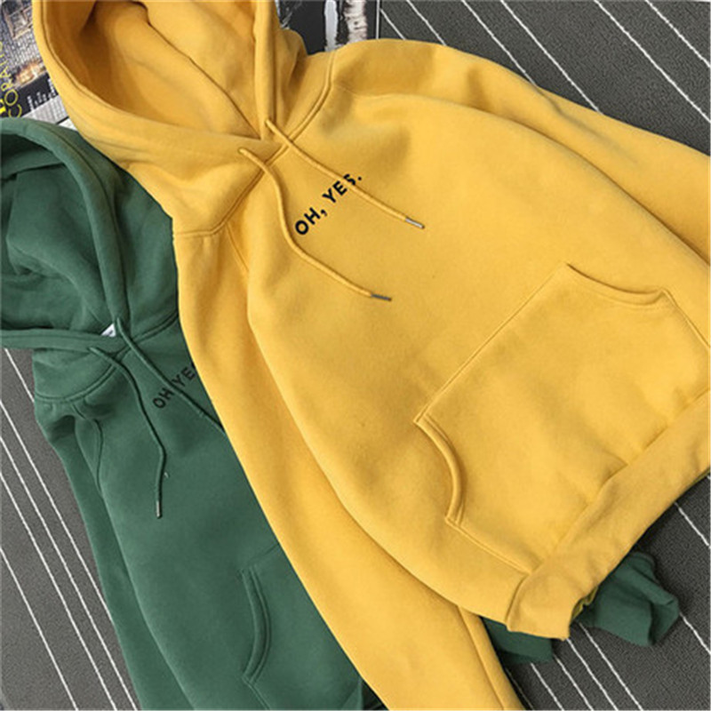 Oh Yes Letter Women Hoodies Harajuku Casual Coat Two Layers Hat 2019 Winter Fleece Pink Pullover Thick Loose Sweatshirt Female