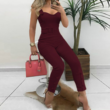 Thin Strap Button Design Jumpsuit Casual Look for Women 2019 ruffle strap button front palazzo jumpsuit