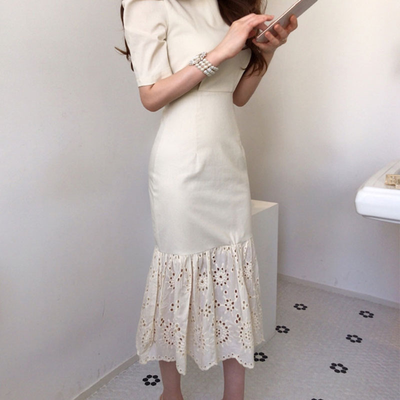Elegant Women Short Sleeve Dresses 2020 Summer Round Neck Korean Slim Waist Hem Lace Stitching Fishtail Dress Long Ladies BW389