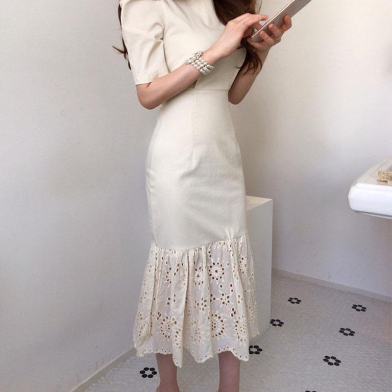 Elegant Women Short Sleeve Dresses 2020 Summer Round Neck Korean Slim Waist Hem Lace Stitching Fishtail Dress Long Ladies BW389