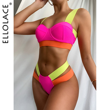 Patchwork Bikini Swimsuit Biquini Bathing-Suits Ellolace Push-Up Neon Woman