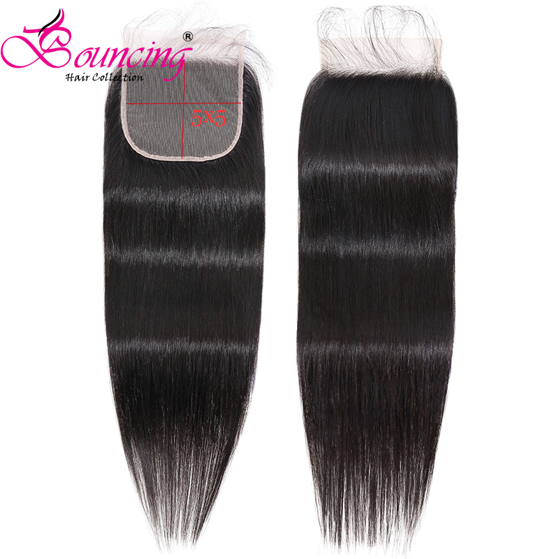 Bouncing Brazilian Straight Transparent Closure 5x5 Lace Closure With Baby Hair Remy Hair Transparent Lace Free Part  8-26 Inch