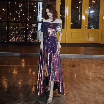 Sparkling Evening Dresses It's Yiiya BR365 Elegant Boat Neck A Line Robe De Soiree Gradient Sequin Colorful Long  Formal Gowns