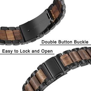 Image 3 - טבעי עץ & נירוסטה רצועת השעון + קישור מסיר לסמסונג גלקסי שעון 42mm 46mm SM R810/R800 שחרור מהיר רצועה בנד