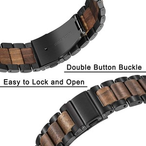 Image 3 - Natural Wood & Stainless Steel Watchband + Link Remover for Samsung Galaxy Watch 42mm 46mm SM R810/R800 Quick Release Strap Band