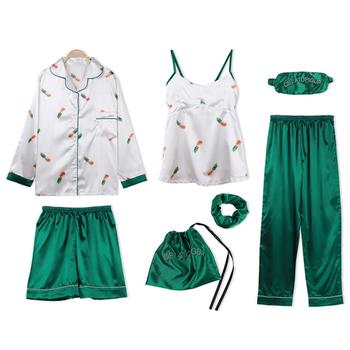 Nowe damskie ubrania domowe 7 sztuk piżamy damskie zestawy sztuczny jedwab paski piżamy zestawy piżamy wiosna lato Satin Sexy Homewear tanie i dobre opinie Lingering Warmth POLIESTER W stylu rysunkowym CN (pochodzenie) WOMEN Faux Silk 1SY-1 Wykładany kołnierzyk Pełna długość