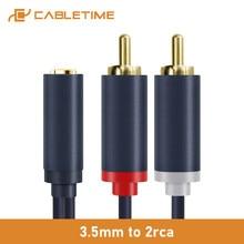 Cabletime-Cable auxiliar hembra a 2RCA macho de 3,5mm, adaptador divisor de Audio estéreo para sistema de sonido VCD, cine en casa, C213