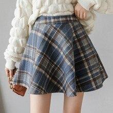 Hairy Plaid Womens Skirt Casual Korean Women Fashion Skirts 2019 Autumn Winter Vintage High Waist A-line Mini