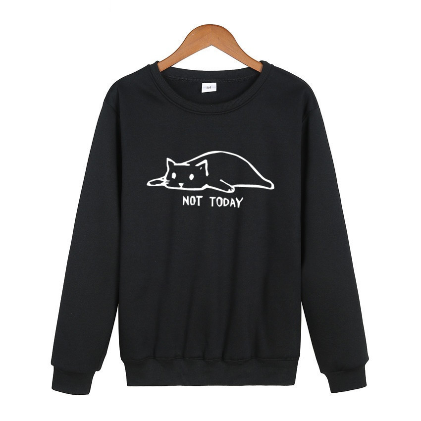 Hot Sale Fashion Not Today Print Cat Men's HoodiesLong Sleeve Round Neck Pullover Hipster Funny Lazy Cat Printed Sweatshirt