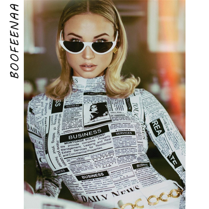 BOOFEENAA Newspaper Print Turtleneck Long Sleeve Bodysuit Women Fall Winter Sexy Tops Bodycon Jumpsuit Body Suit C70-AZ93