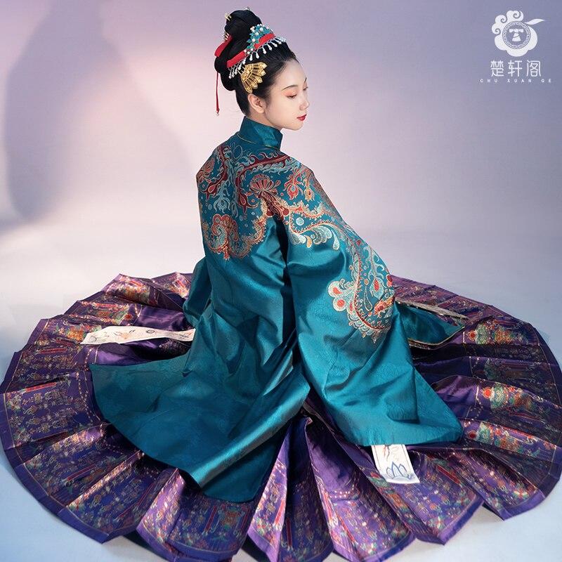 HanFu Chinese Traditional Clothing Fruitful Horse Face Skirt Ming Dynasty Hanfu Fashion Fine Women's Clothing Pleated Skirt Anci