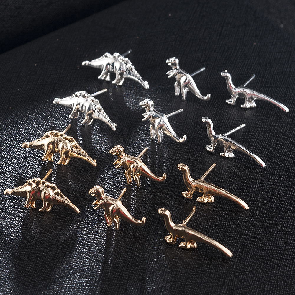 3Pairs Fashion Women Men Dinosaur Shape Metal Cute Ear Stud Small Earring Party Gift Earrings Jewelry