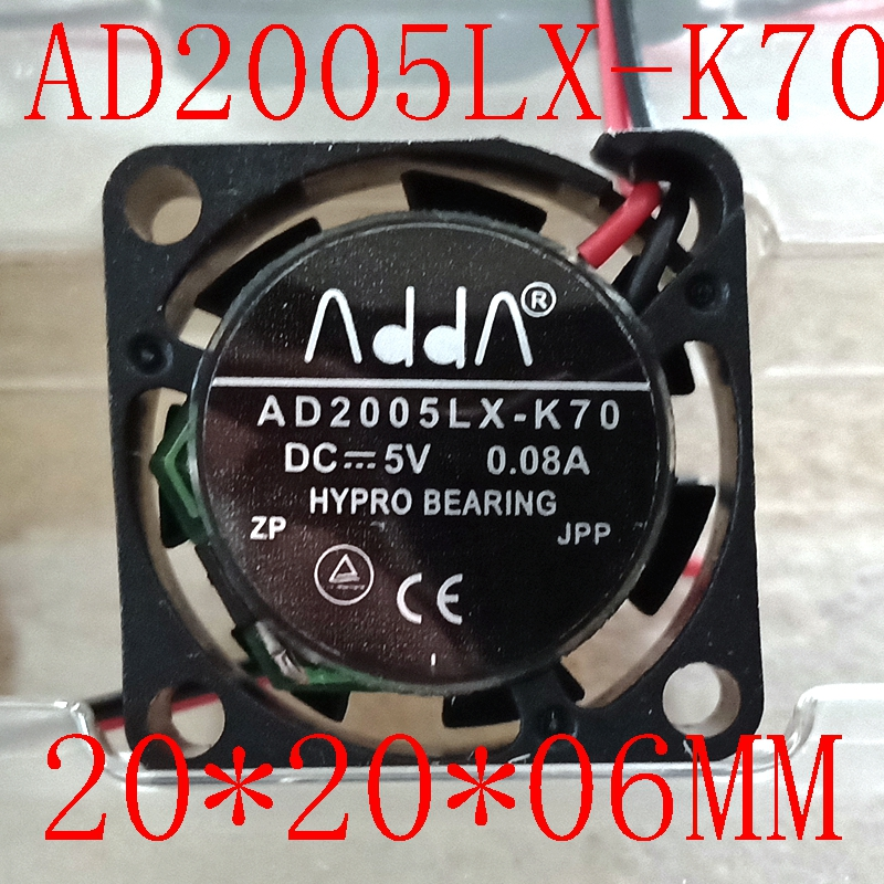 12500RPM ADDA AD2005LX-K70 2006 2007 <font><b>2CM</b></font> 20MM Mini <font><b>fan</b></font> 20*20*6MM Cooling <font><b>fan</b></font> ultrathin <font><b>fan</b></font> 5V 0.08A mini laptop <font><b>fan</b></font> 2wire image
