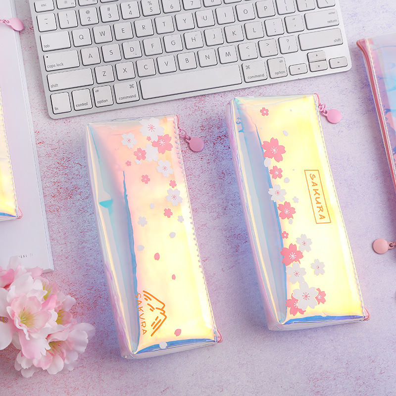 Mohamm  Laser Cherry Blossom Pencil Bag Aesthetic Pink Girl Heart Receiving Bag Simple Transparent Pencil Bag