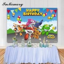 InMemory 7X5FT סופר כנף תפאורות מסיבת יום הולדת באנר באנטינג בלוני תינוק צילום סטודיו רקע Photopnone אבזרי