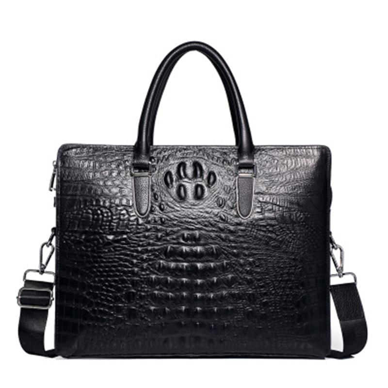 Crocodile Men's Briefcase Luxury Black Men Handbags Messenger Bags PU Leather Man Bags Male Man Casual Shoulder Bag