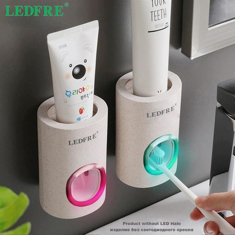 Автоматический Дозатор зубной пасты LEDFRE, пыленепроницаемый держатель для зубных щеток, соломинка пшеницы, настенный домашний выдавливател...