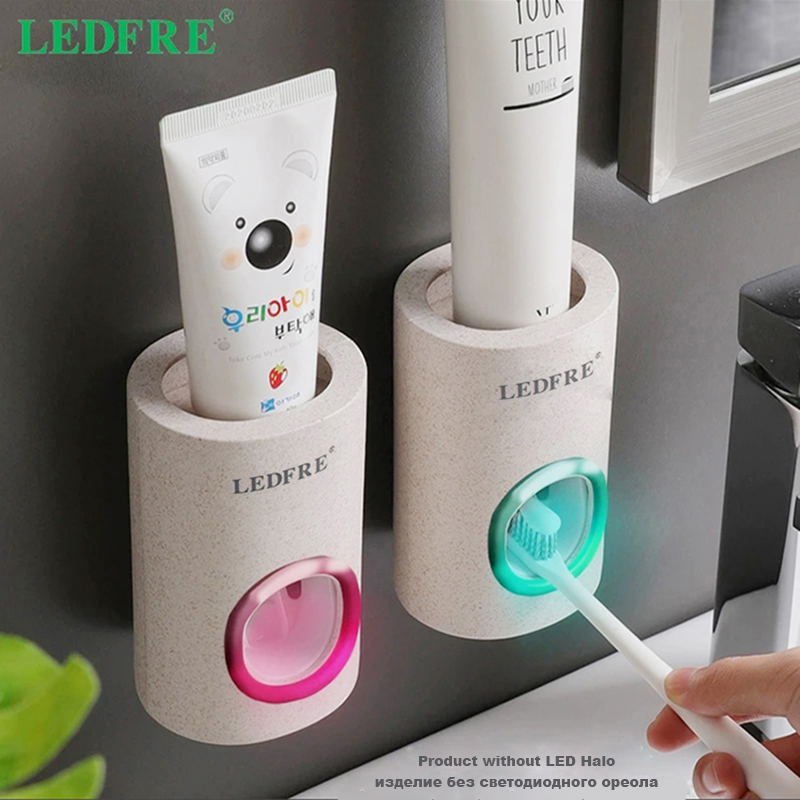 LEDFRE Bathroom Accessories Automatic Toothpaste Dispenser Dust-Proof Toothbrush Holder Wheat Straw Wall Mounted Home Squeezer