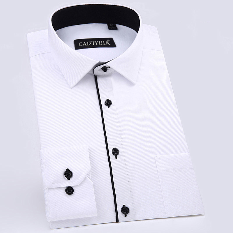 Men's Standard-fit Long Sleeve Basic Dress Shirts Single Patch Pocket Male Formal Business Social Work Twill Casual Tops Shirt