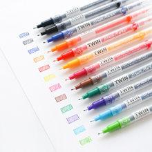 Çift taraflı ince fırça renkli marker kalem seti 6/12/24/36 renk boyama çizim için kaligrafi sanat malzemeleri kırtasiye okul f814