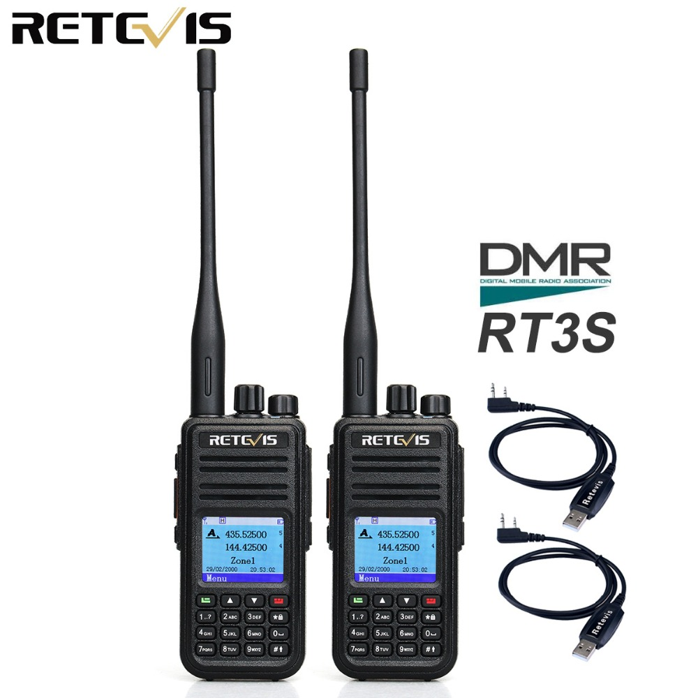 Inconceivable DMR Dual Band Digital Walkie Talkie 2pcs Retevis RT3S VHF UHF GPS Ham Radio Amador Transceiver Portable Two Way Radio Station